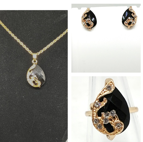 Jewelry - NWOT Onyx Peacock Set